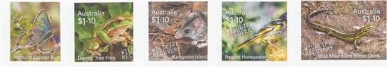 AUS 04/08/2020 Stamp Collecting Month 2020: Wildlife Recovery s-a set 5 from booklets (exSB713-7)